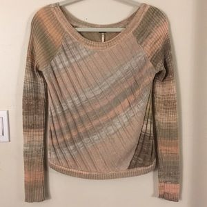 Free People Diagonal Stripe Rib Knit Sweater